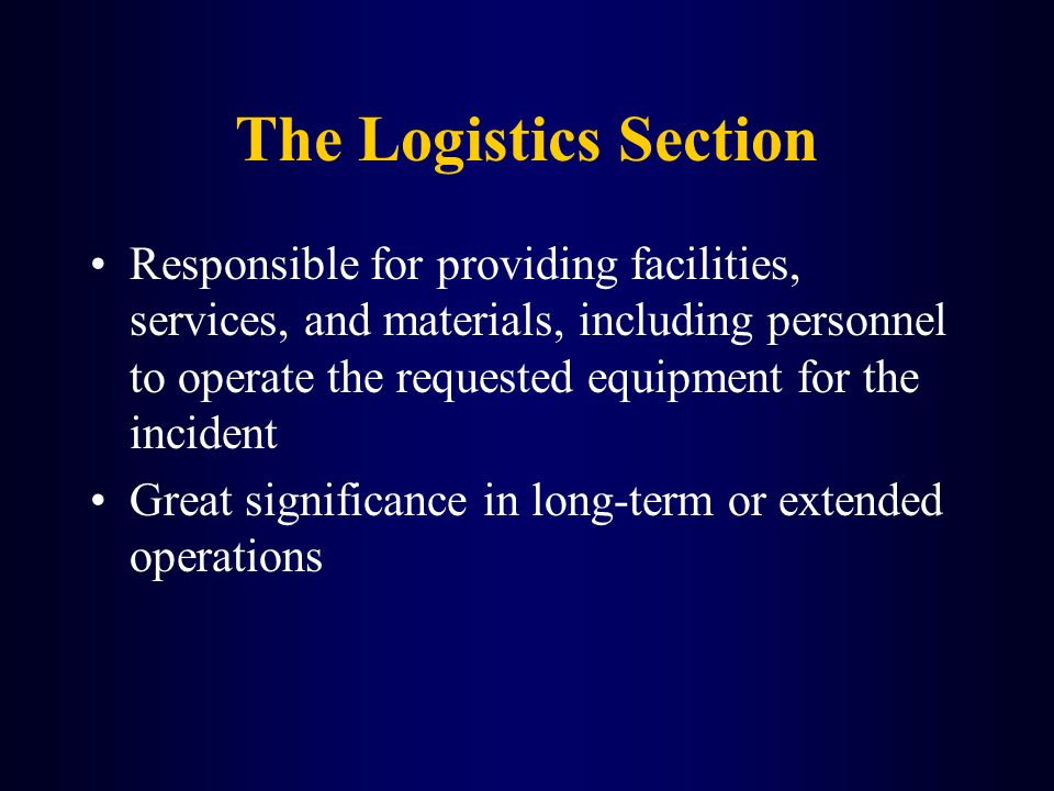 The Logistics Section