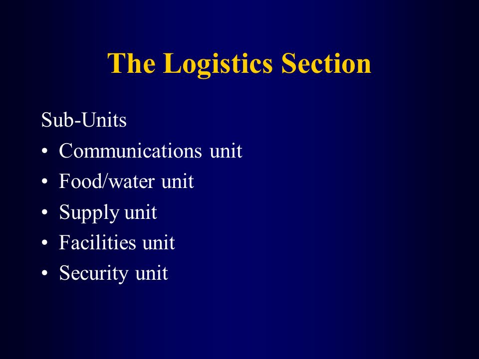 The Logistics Section Sub-Units Communications unit Food/water unit
