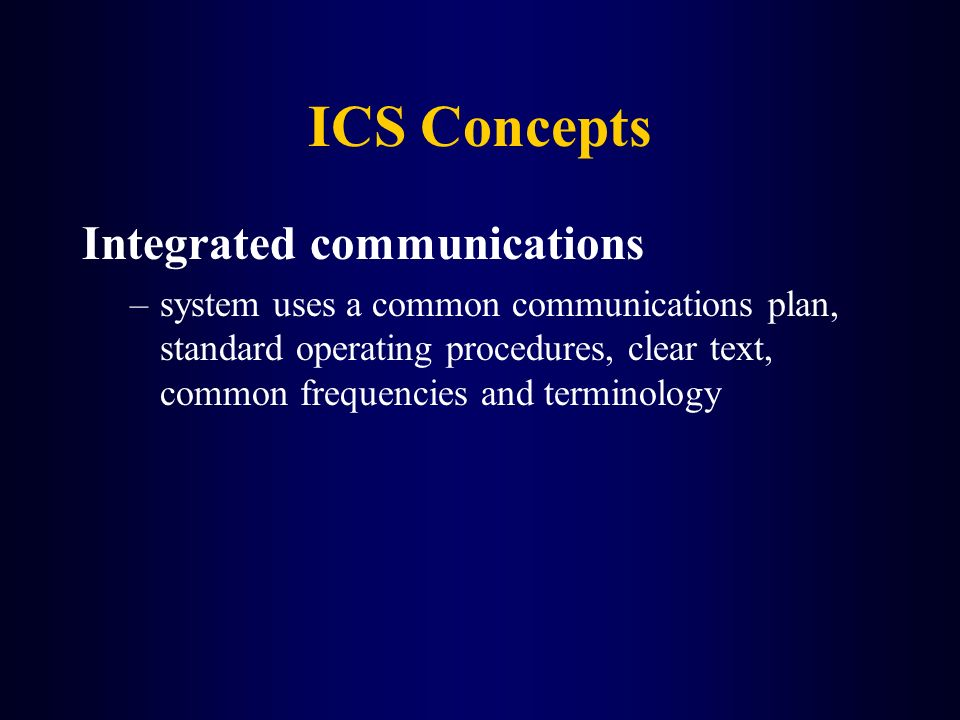 ICS Concepts Integrated communications
