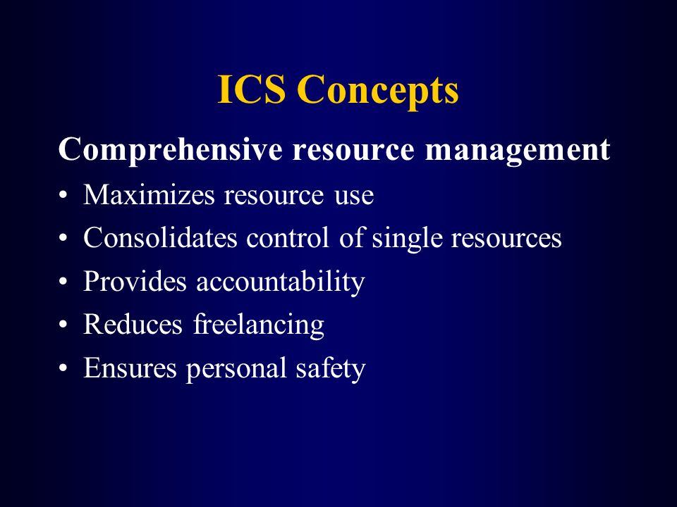 ICS Concepts Comprehensive resource management Maximizes resource use
