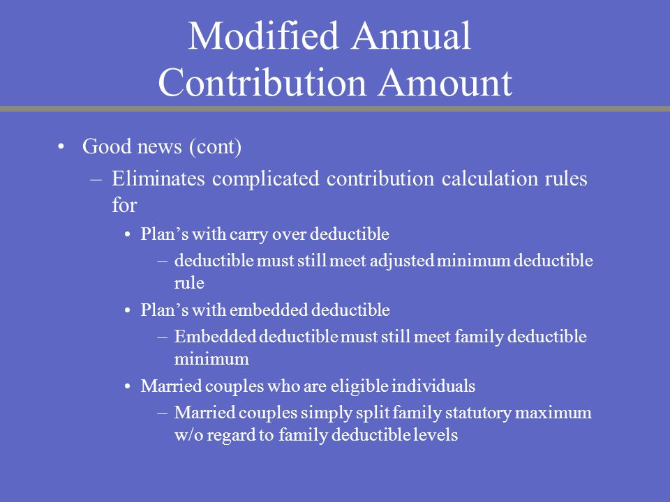 Modified Annual Contribution Amount