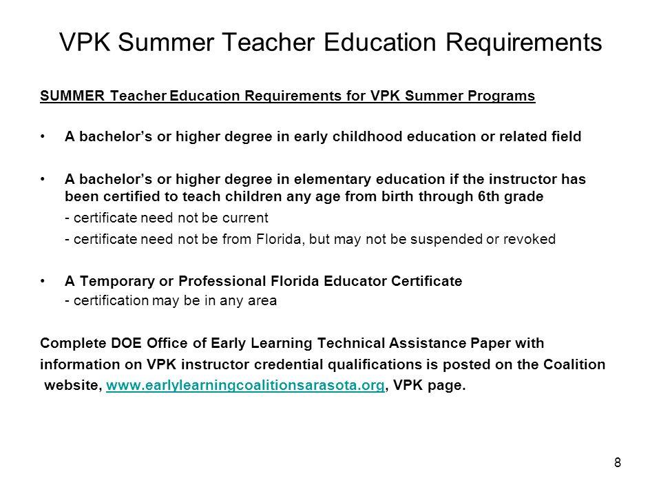 VPK Program Overview The Voluntary Prekindergarten Education (VPK ...