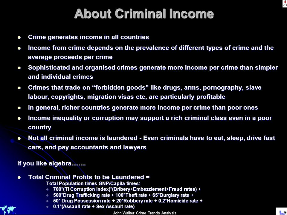 About Criminal Income Crime generates income in all countries