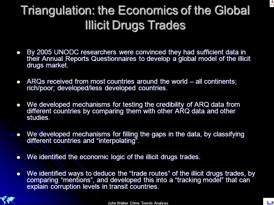 Triangulation: the Economics of the Global Illicit Drugs Trades