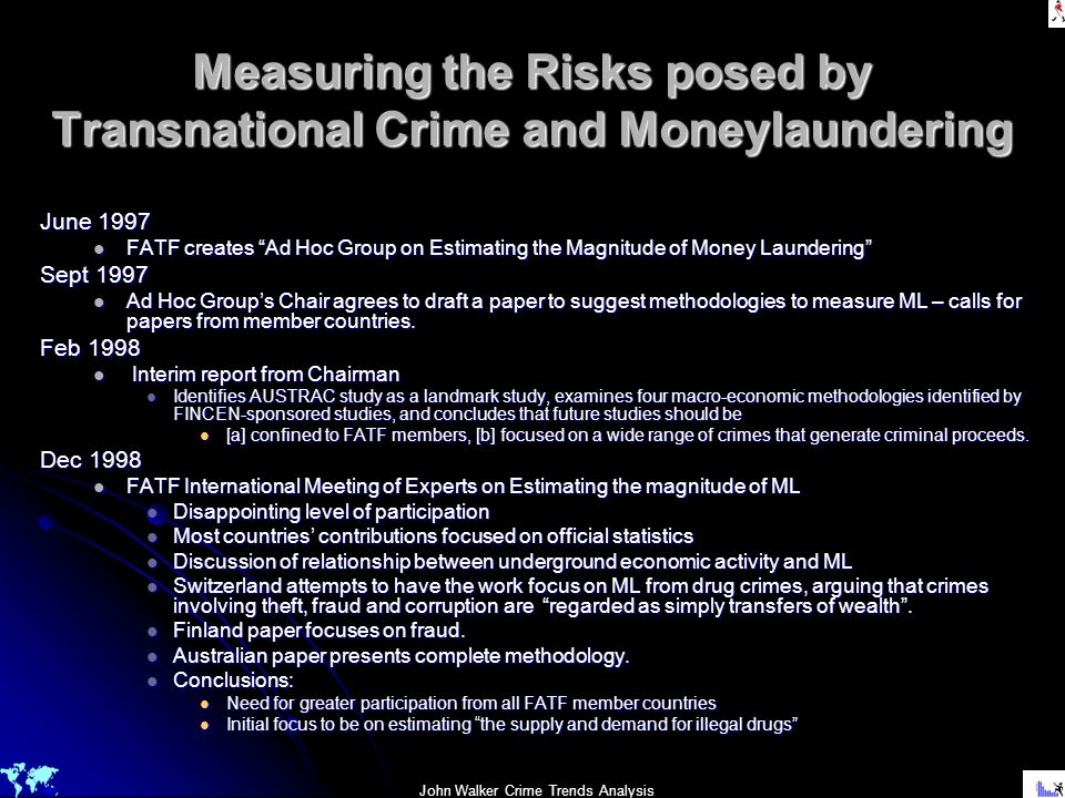Measuring the Risks posed by Transnational Crime and Moneylaundering