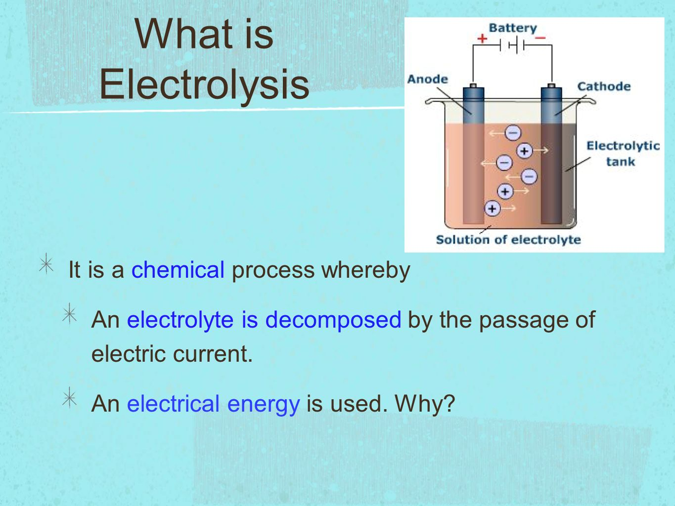 What is electrolysis? 44