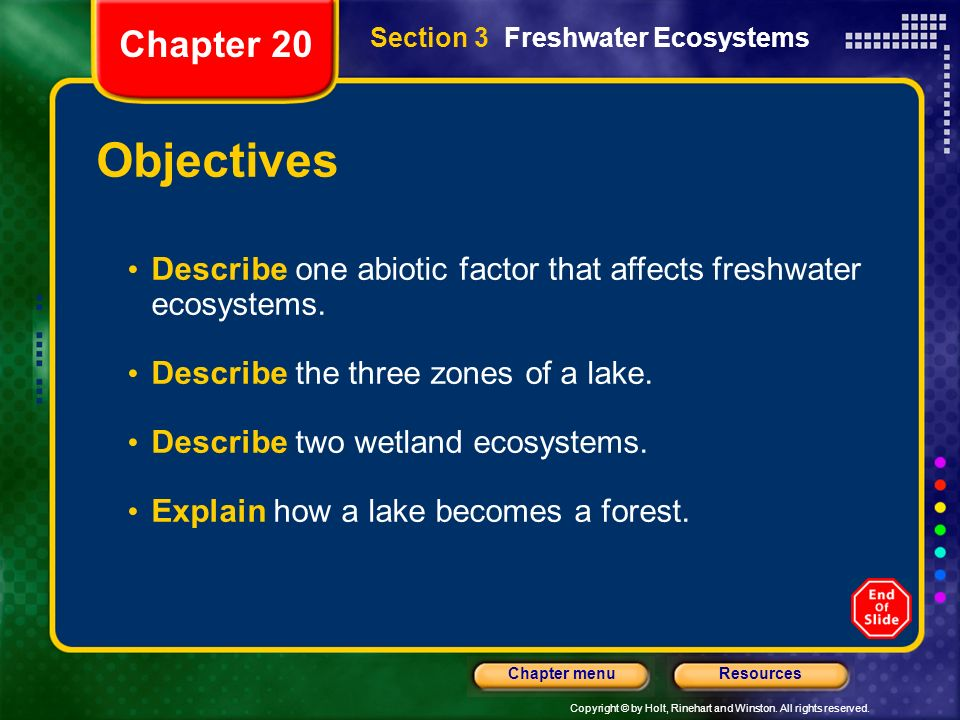 Chapter 20 Section 3 Freshwater Ecosystems. Objectives. Describe one abiotic factor that affects freshwater ecosystems.
