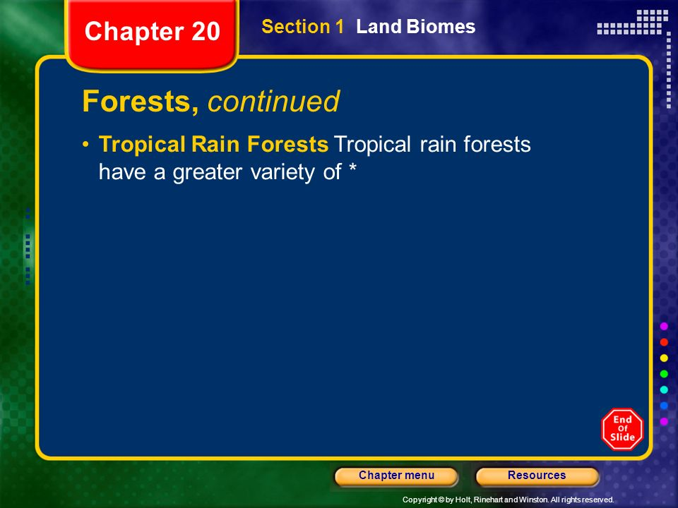 Forests, continued Chapter 20