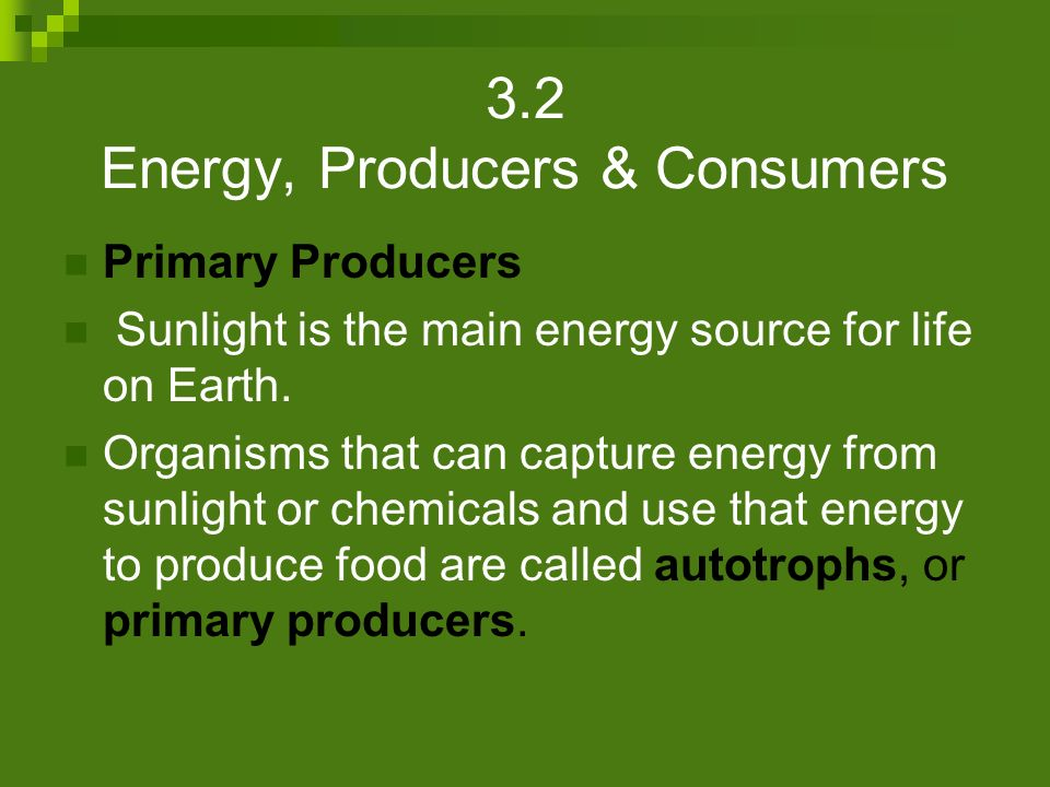 3.2 Energy, Producers & Consumers