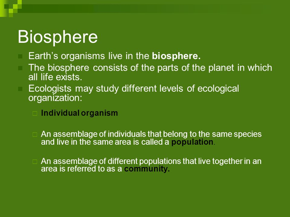 Biosphere Earth's organisms live in the biosphere.