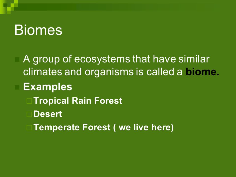Biomes A group of ecosystems that have similar climates and organisms is called a biome. Examples.