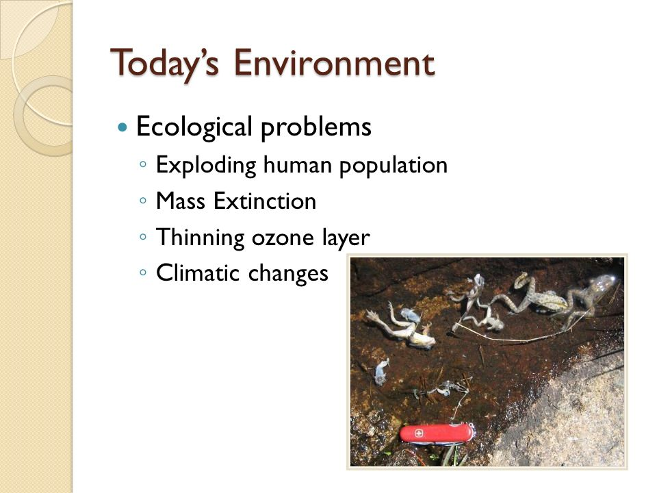 Today's Environment Ecological problems Exploding human population