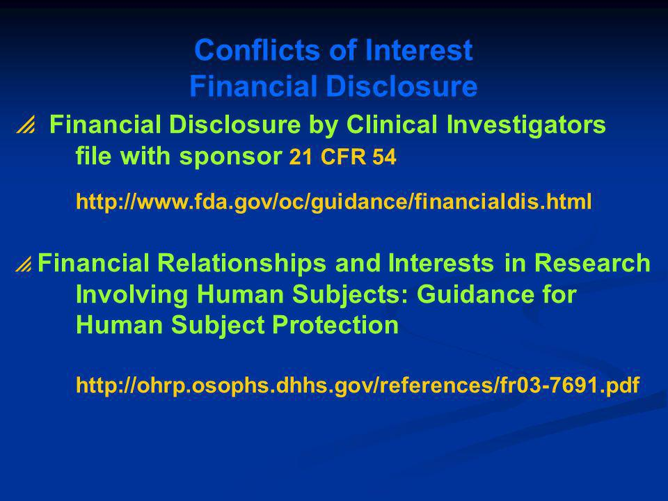 Conflicts of Interest Financial Disclosure