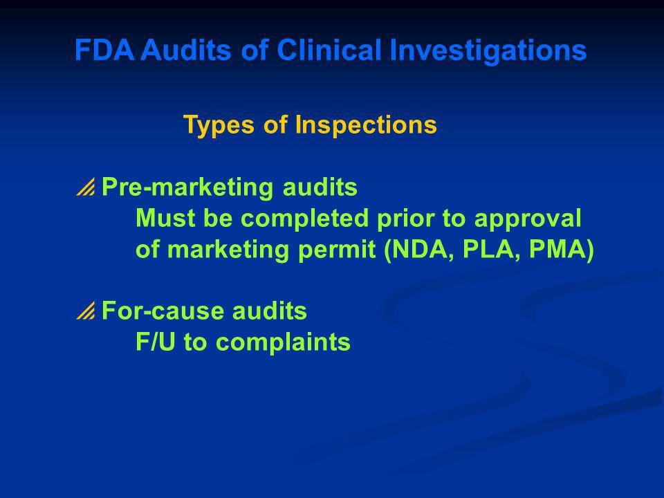 FDA Audits of Clinical Investigations