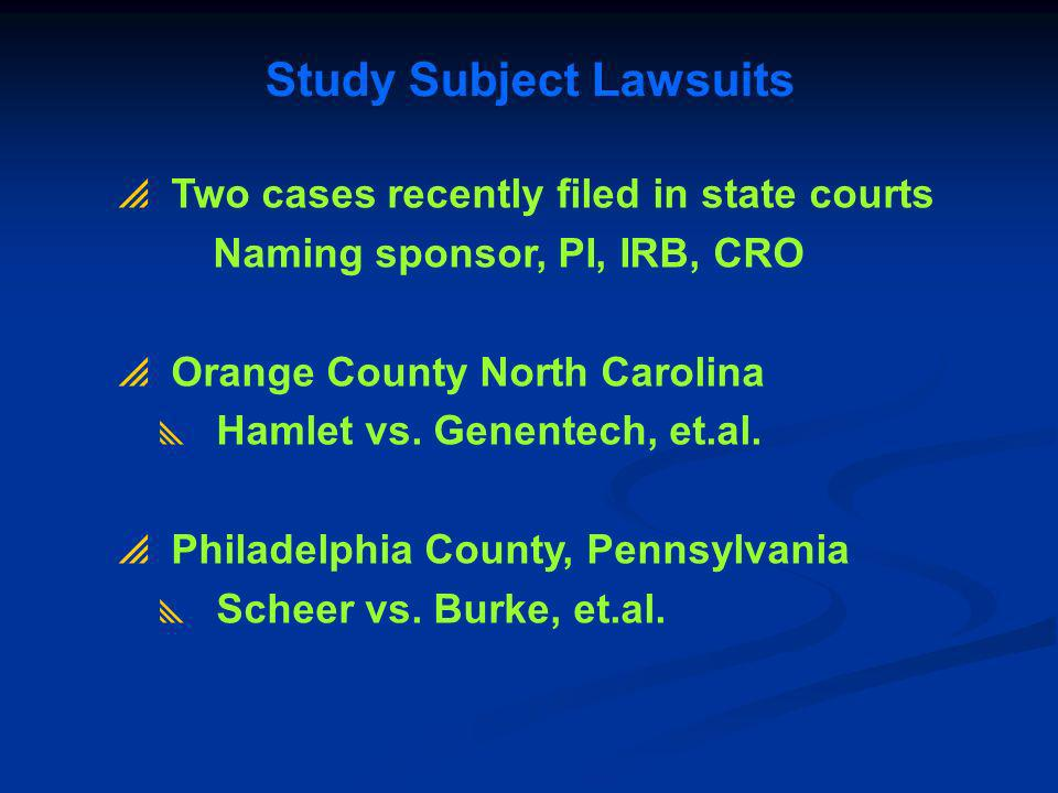 Study Subject Lawsuits
