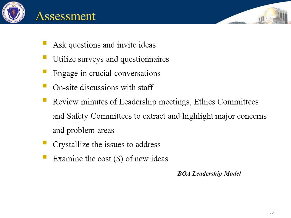 Assessment Ask questions and invite ideas