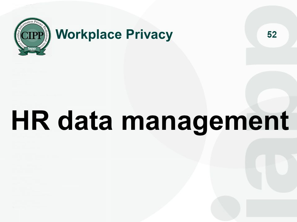 Workplace Privacy HR data management