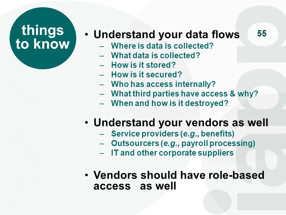 things to know Understand your data flows