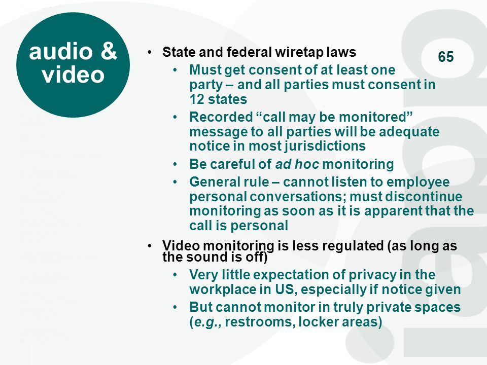 audio & video State and federal wiretap laws