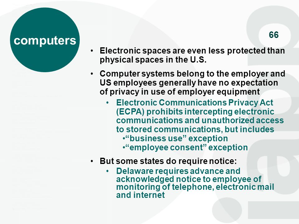 computers Electronic spaces are even less protected than physical spaces in the U.S.