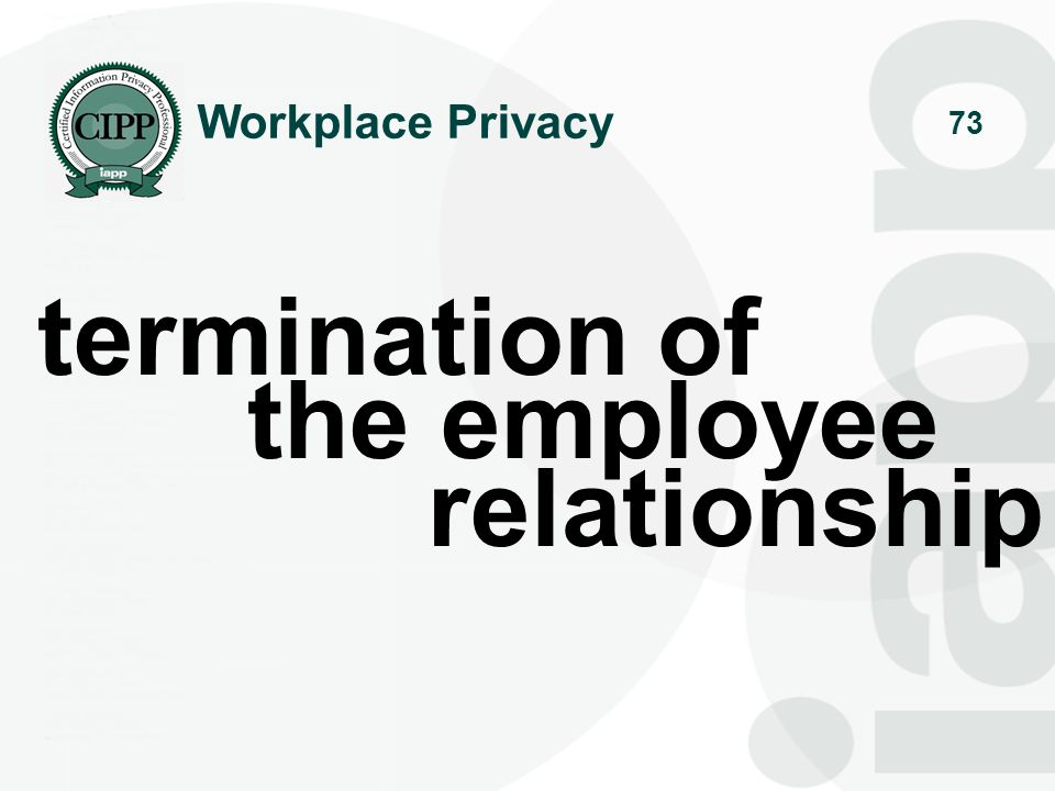 Workplace Privacy termination of the employee relationship