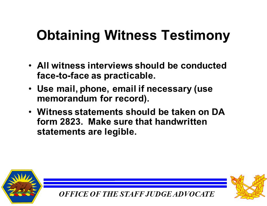 Ar 15 6 investigations captain w lance blanco telephone ppt video 12 obtaining witness testimony altavistaventures Choice Image