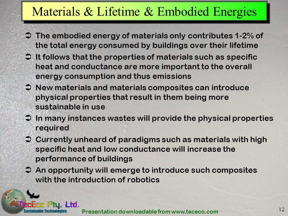 Materials & Lifetime & Embodied Energies