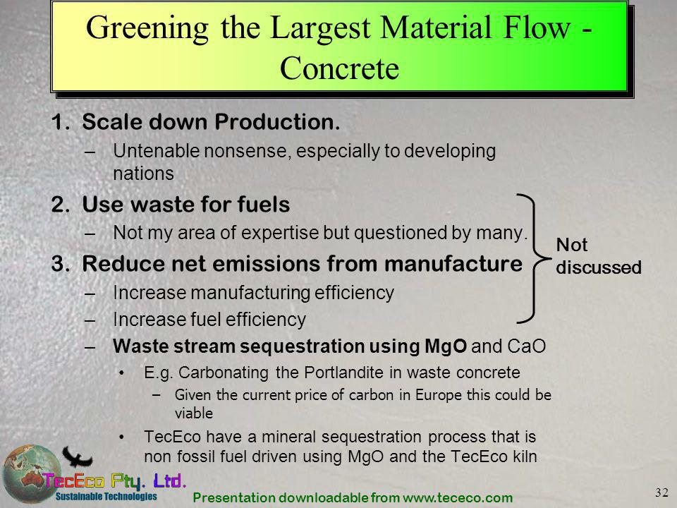 Greening the Largest Material Flow -Concrete