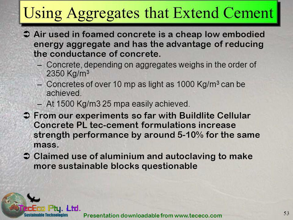 Using Aggregates that Extend Cement