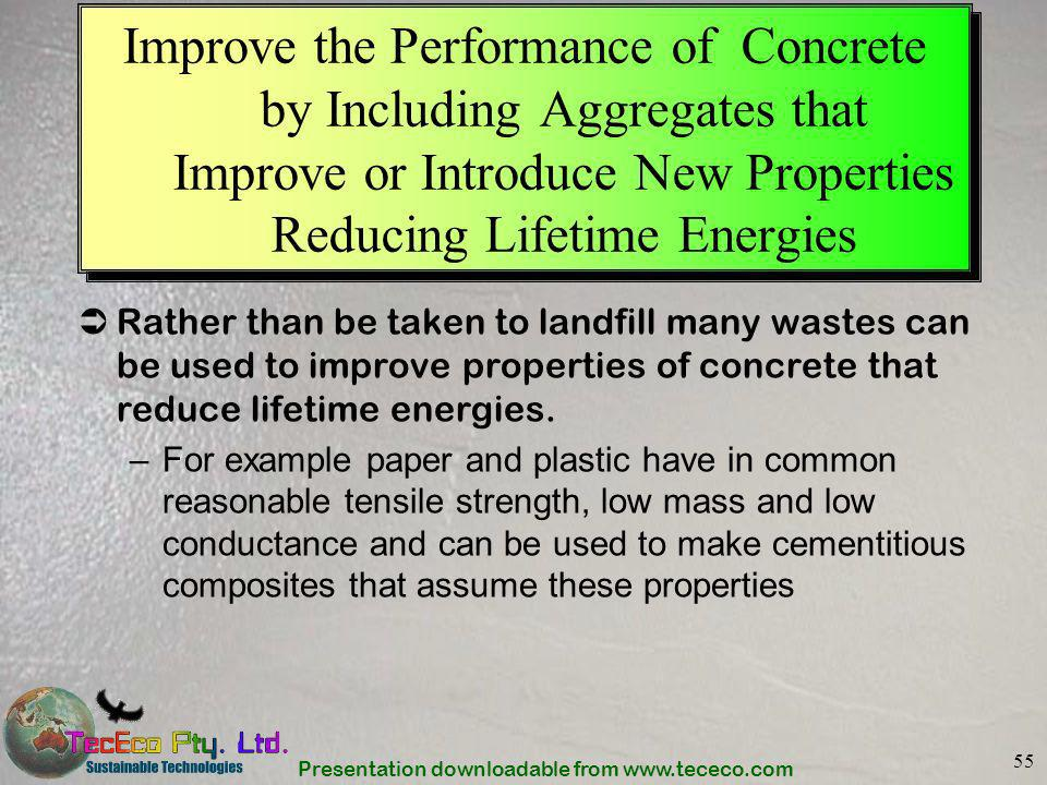 Improve the Performance of Concrete by Including Aggregates that Improve or Introduce New Properties Reducing Lifetime Energies