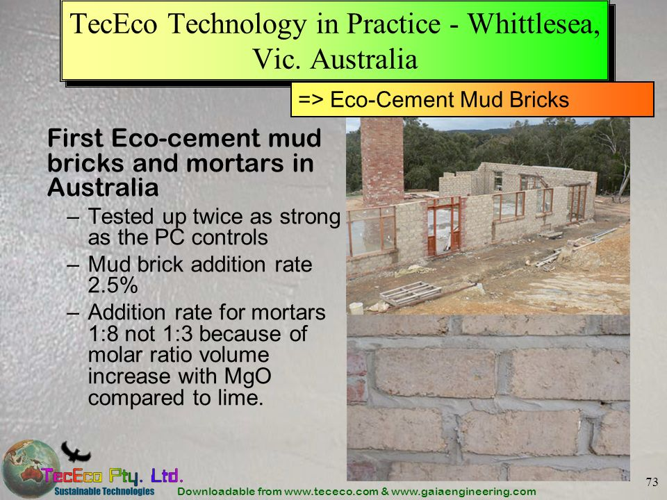 TecEco Technology in Practice - Whittlesea, Vic. Australia