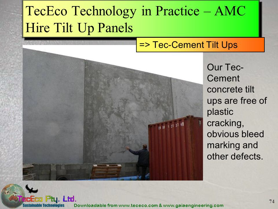TecEco Technology in Practice – AMC Hire Tilt Up Panels