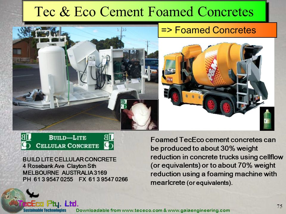 Tec & Eco Cement Foamed Concretes