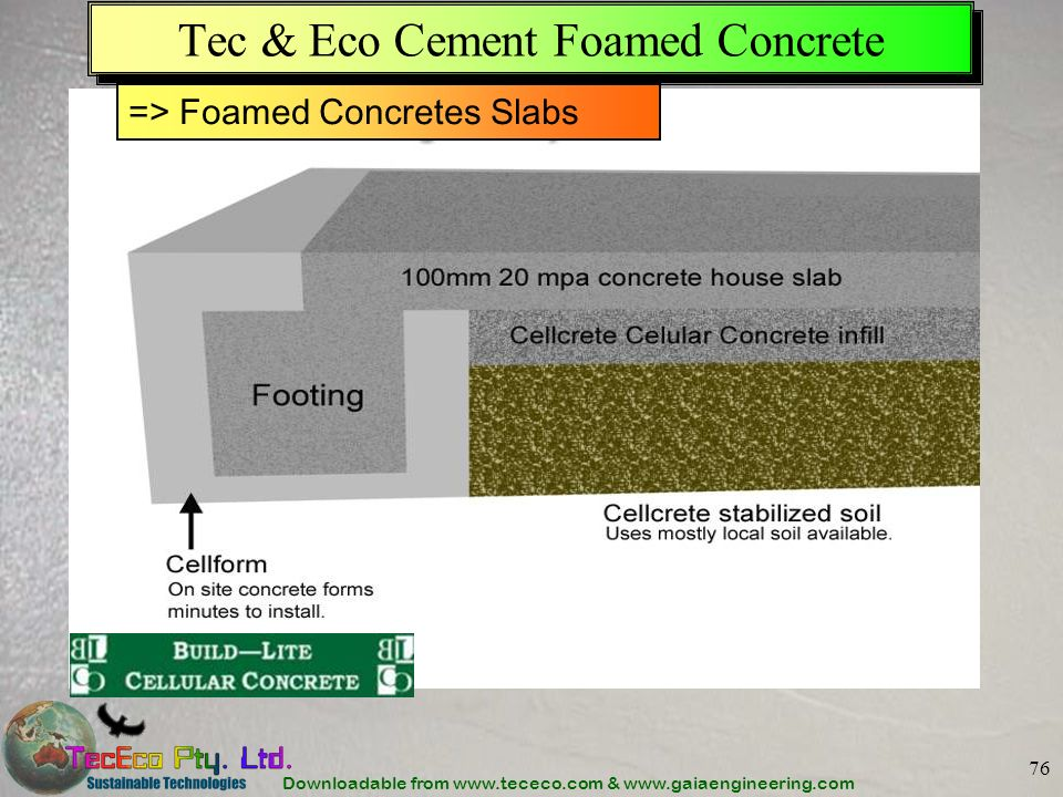 Tec & Eco Cement Foamed Concrete