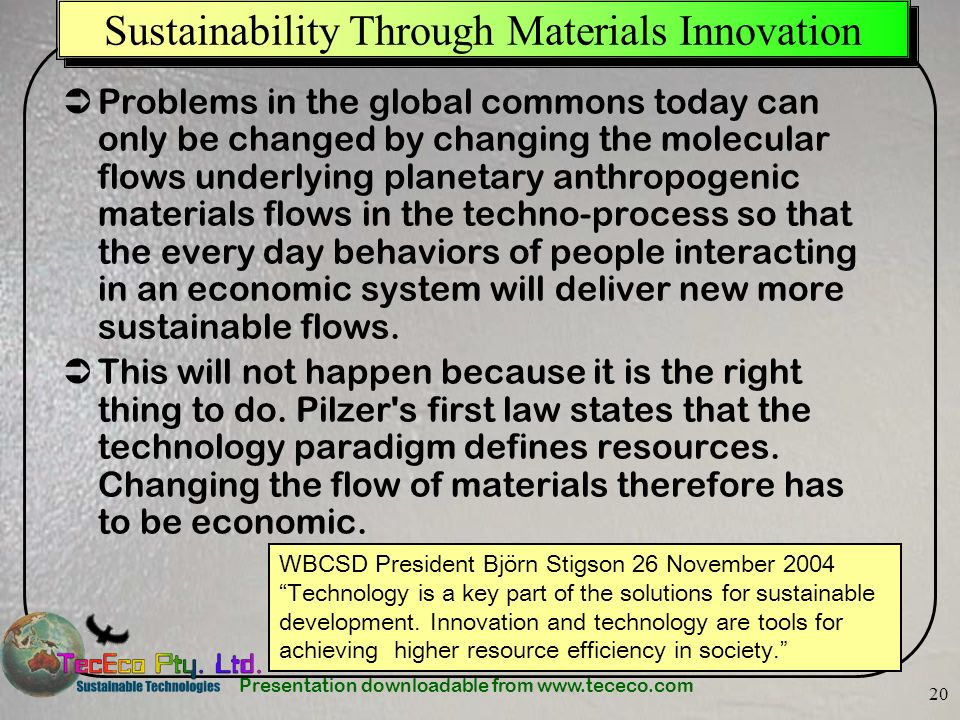 Sustainability Through Materials Innovation