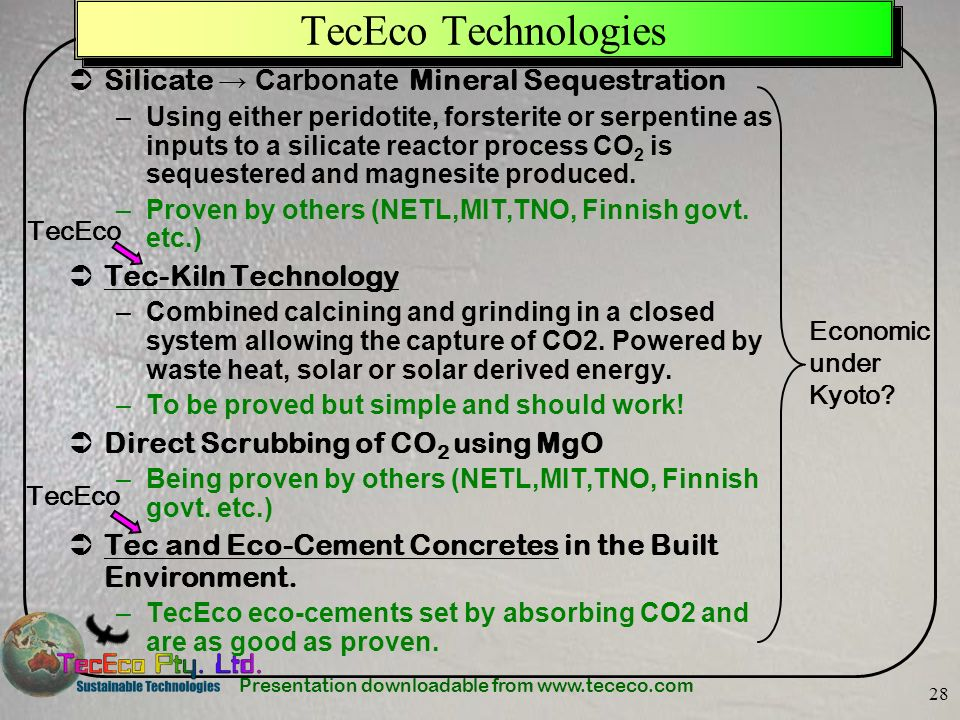 TecEco Technologies Silicate → Carbonate Mineral Sequestration