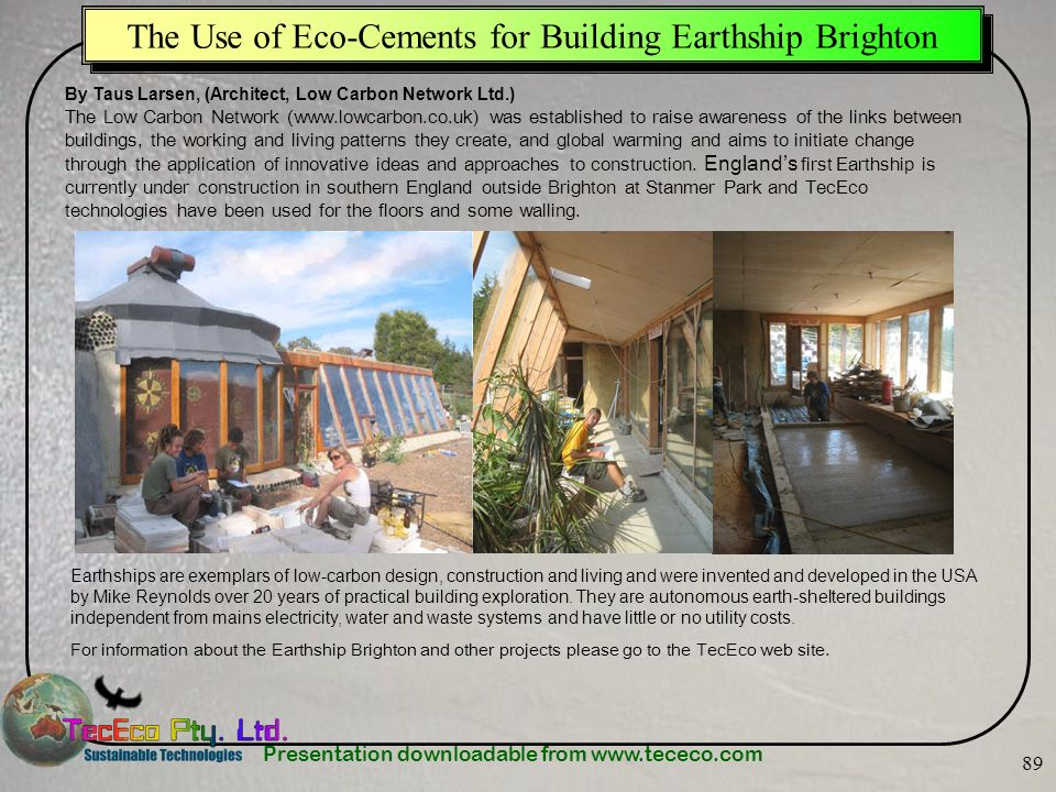 The Use of Eco-Cements for Building Earthship Brighton