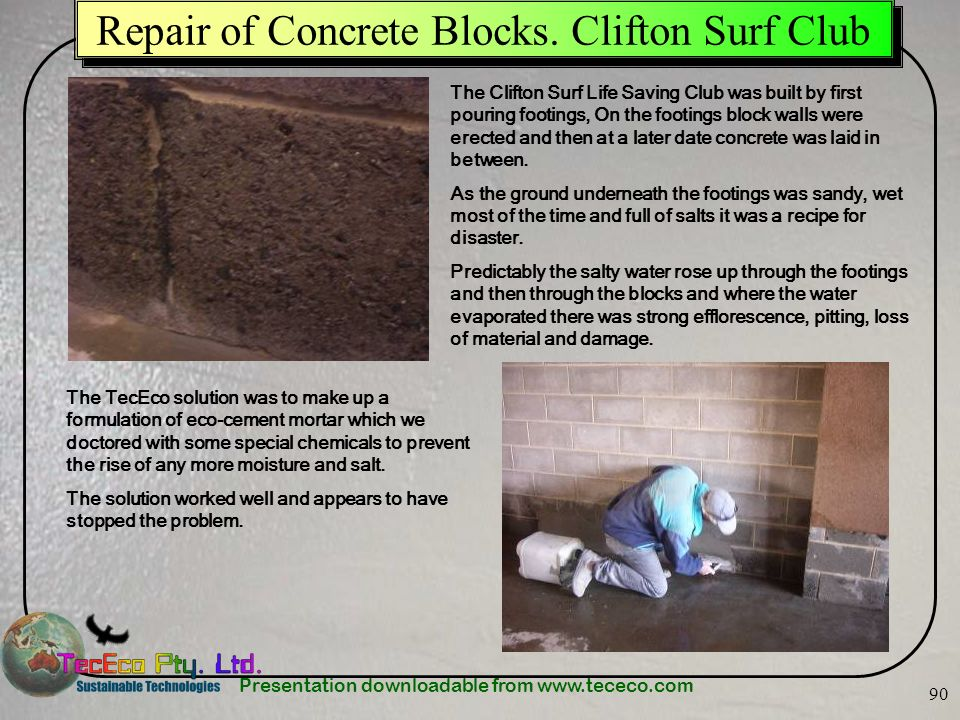 Repair of Concrete Blocks. Clifton Surf Club