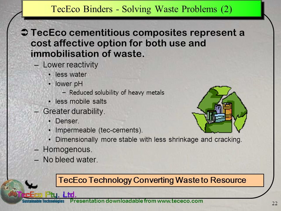 TecEco Binders - Solving Waste Problems (2)