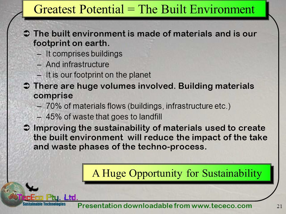 Greatest Potential = The Built Environment