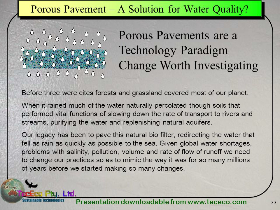 Porous Pavement – A Solution for Water Quality