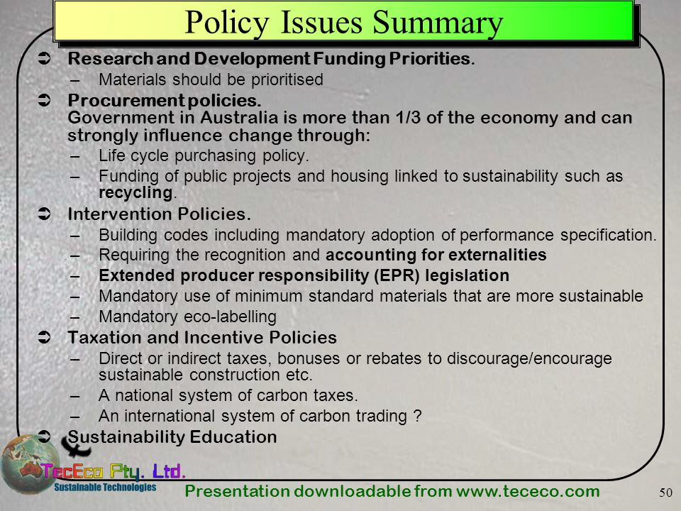 Policy Issues Summary Research and Development Funding Priorities.