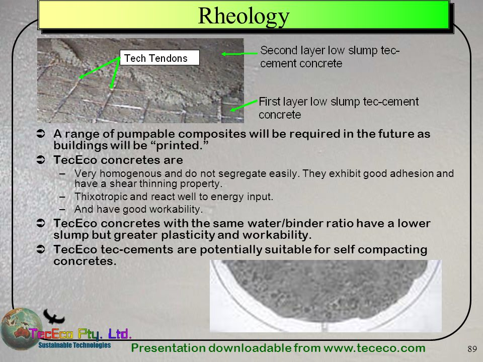 Rheology A range of pumpable composites will be required in the future as buildings will be printed.