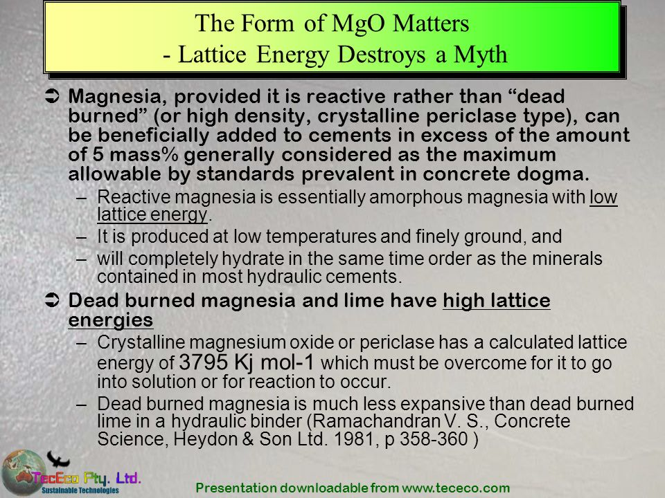 The Form of MgO Matters - Lattice Energy Destroys a Myth