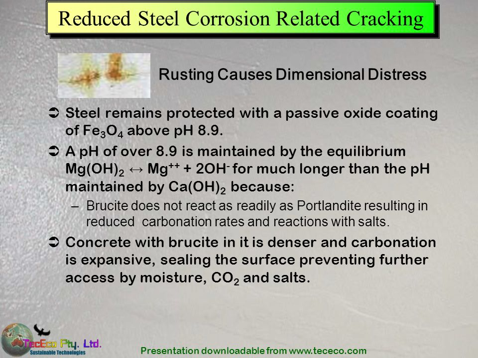 Reduced Steel Corrosion Related Cracking