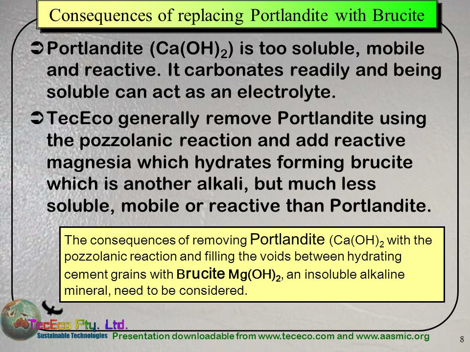Consequences of replacing Portlandite with Brucite