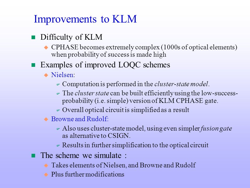 Improvements to KLM Difficulty of KLM
