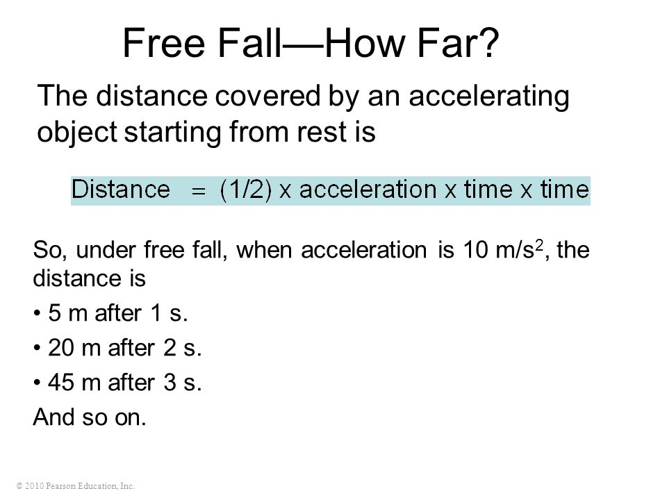 Free Fall—How Far The distance covered by an accelerating object starting from rest is.