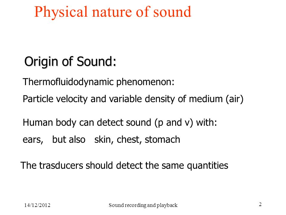Physical nature of sound