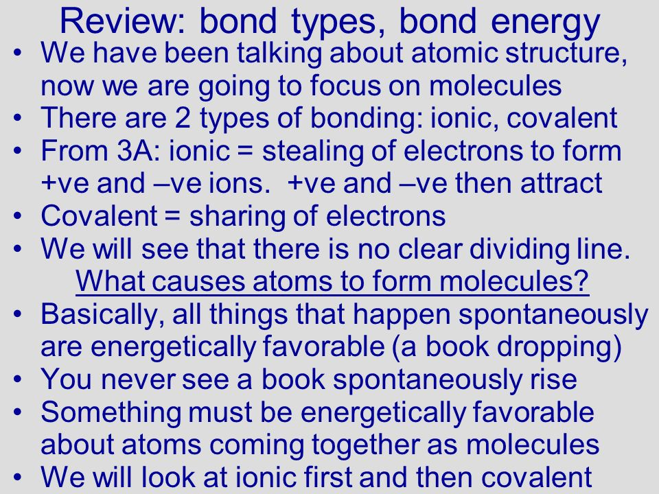 Review: bond types, bond energy